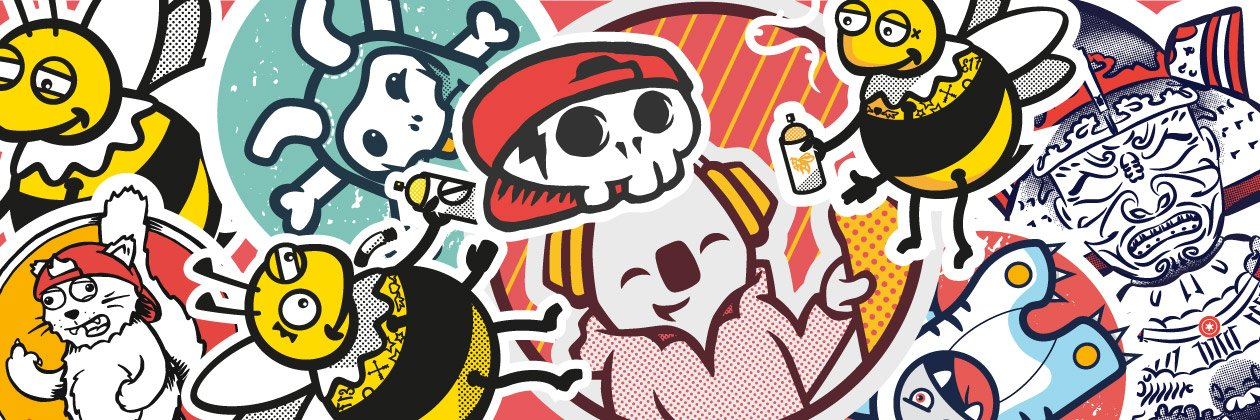 Colourful collection of Foksy Stickers