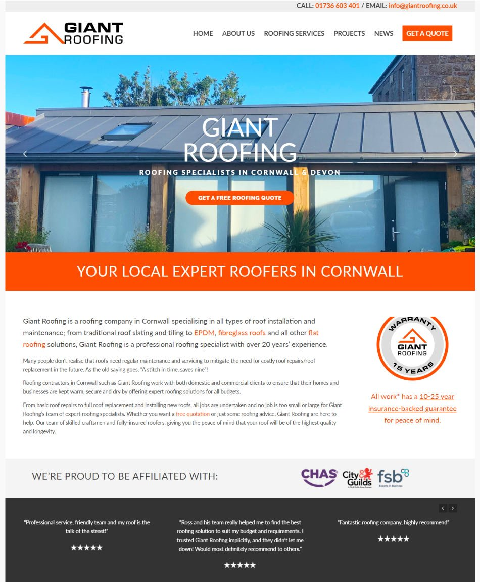 Layout design of the Giant Roofing website