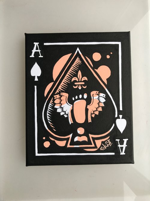 mini canvas made with posca markers of an ace of spades