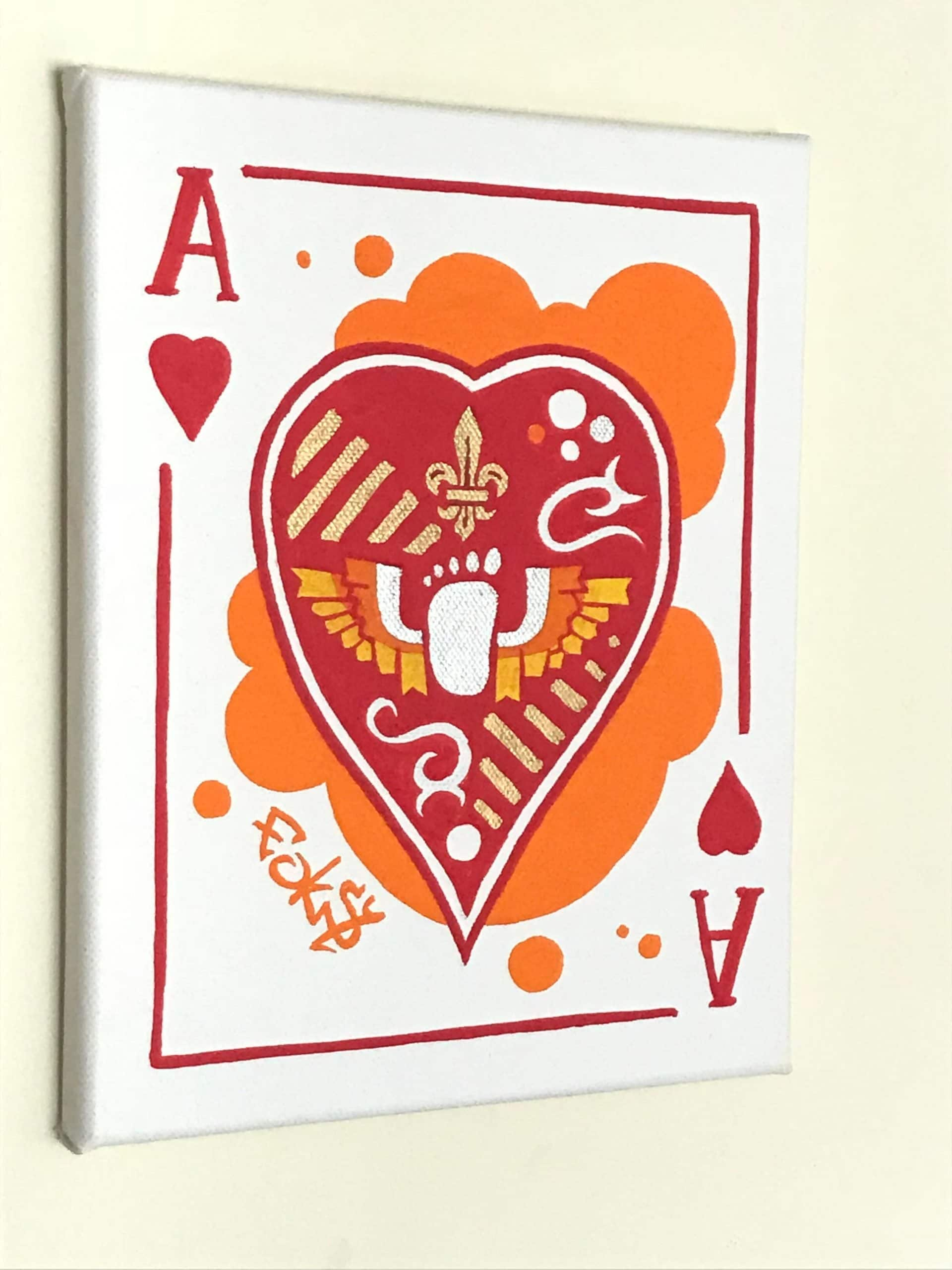 mini canvas made with posca markers of an ace of hearts