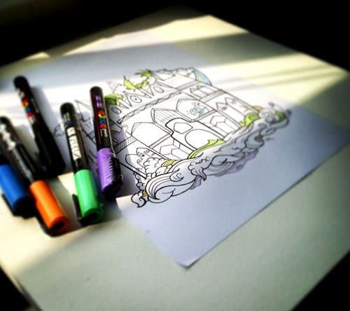 Work in progress of posca markers and the original sketch work