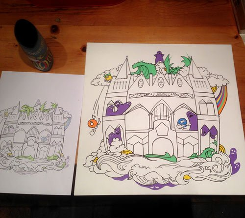 Work in progress of posca painting called amputate