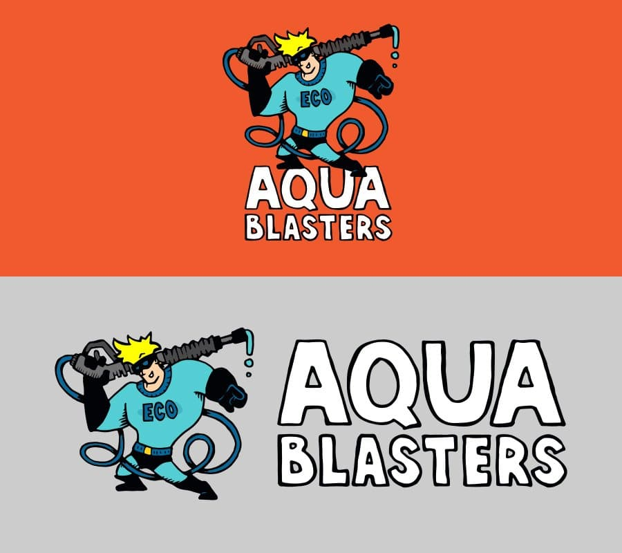Hand illustrated logo of aqua blaster man in his super hero outfit