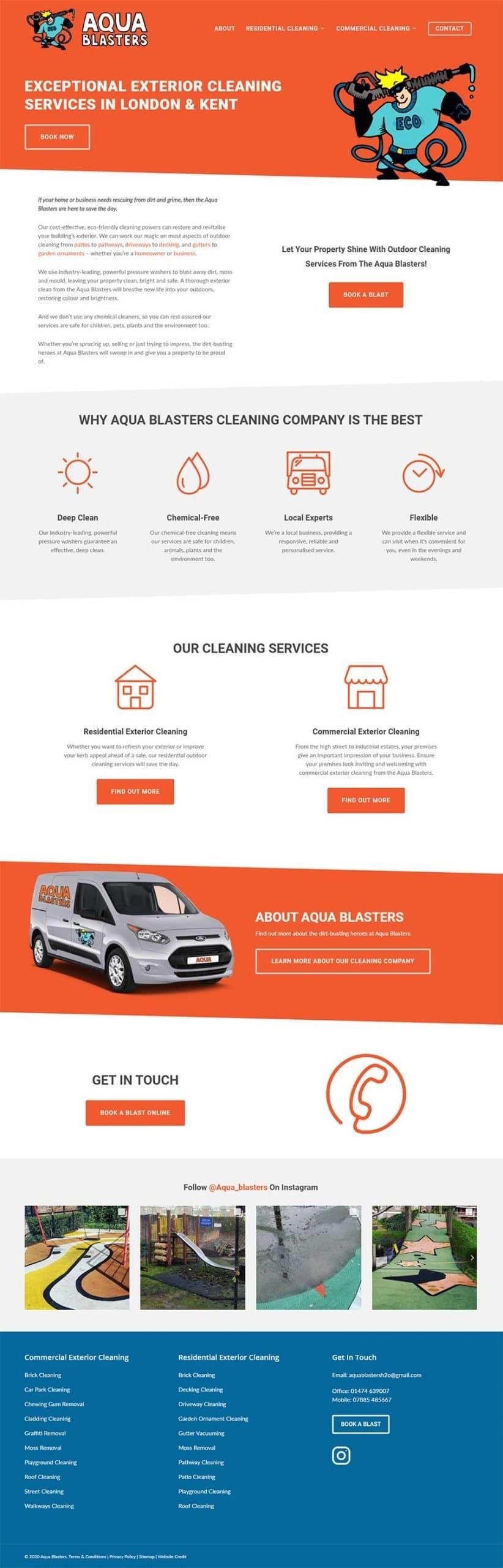 Layout design of the Aqua Blasters website