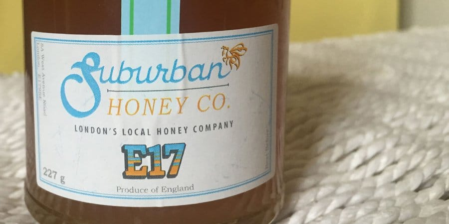 Honey jar with new design on a label