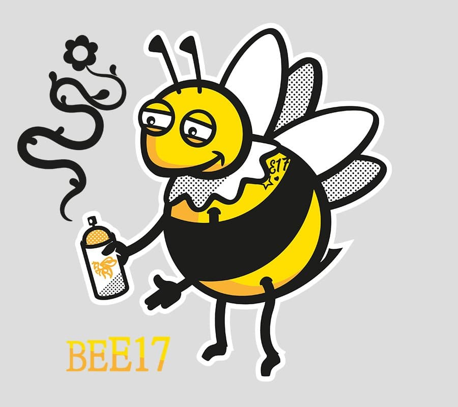 vector illustration of happy bee with a spray can thats emitting a flower