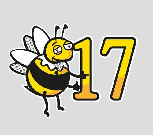 vector illustration of happy bee and the number 17