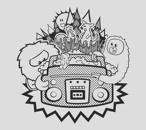 The vector artwork of animals and critters partying around a boom box in the forest