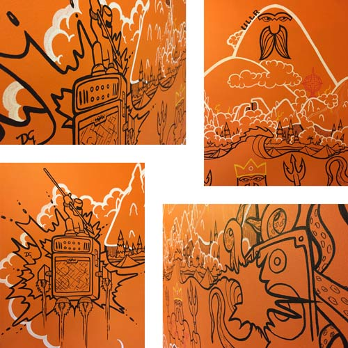 close up photos of a mural with neptune and ullr painted with posca markers