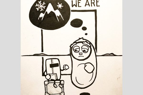 """Inktober illustration of sad character thining of mountains with the text """"We are who we are eventually"""""""