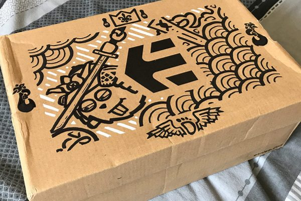 Inktober illustration of samurai character and pattern on an etnies shoes box
