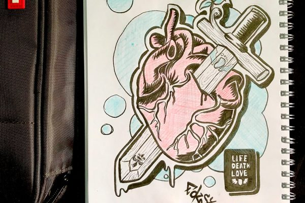 """Inktober illustration of a heart being skewered by a wooden sword thats growing new life with the text """"Life, Death & Love"""""""