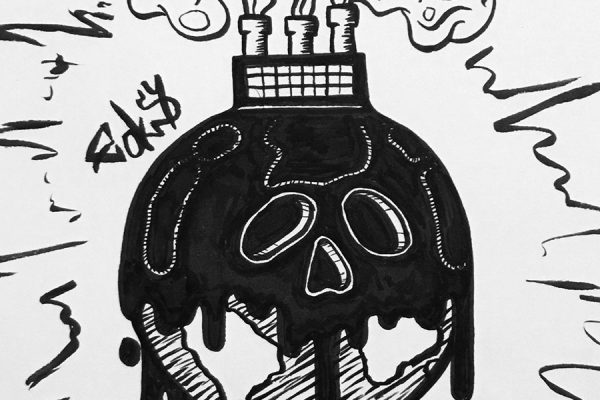 Inktober illustration of of the earth covered in black ooze