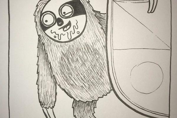 Inktober illustration of sloth hanging onto a shield