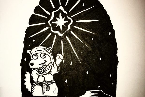 Inktober illustration of a bright star and a shepherd following