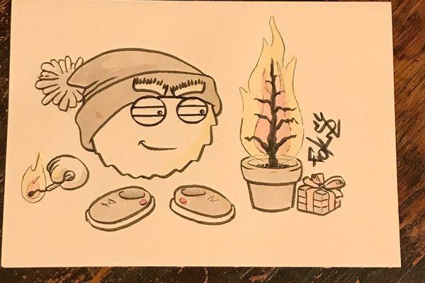 Inktober illustration of smug character burning a christmas tree