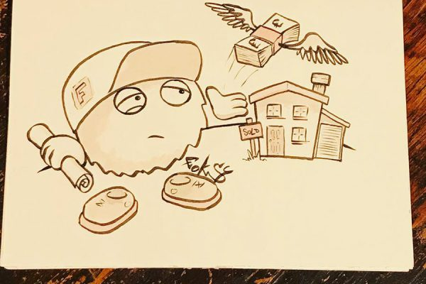 Inktober illustration of cahracter buying a house and watching his money fly away