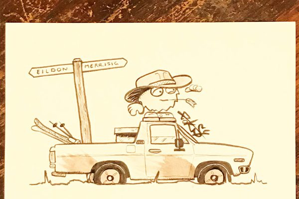 Inktober illustration of hill billy standing on top of his ute