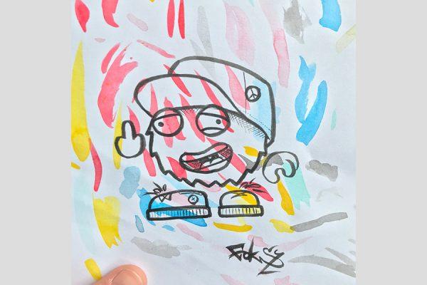 Inktober illustration of little character sticking its middle finger up