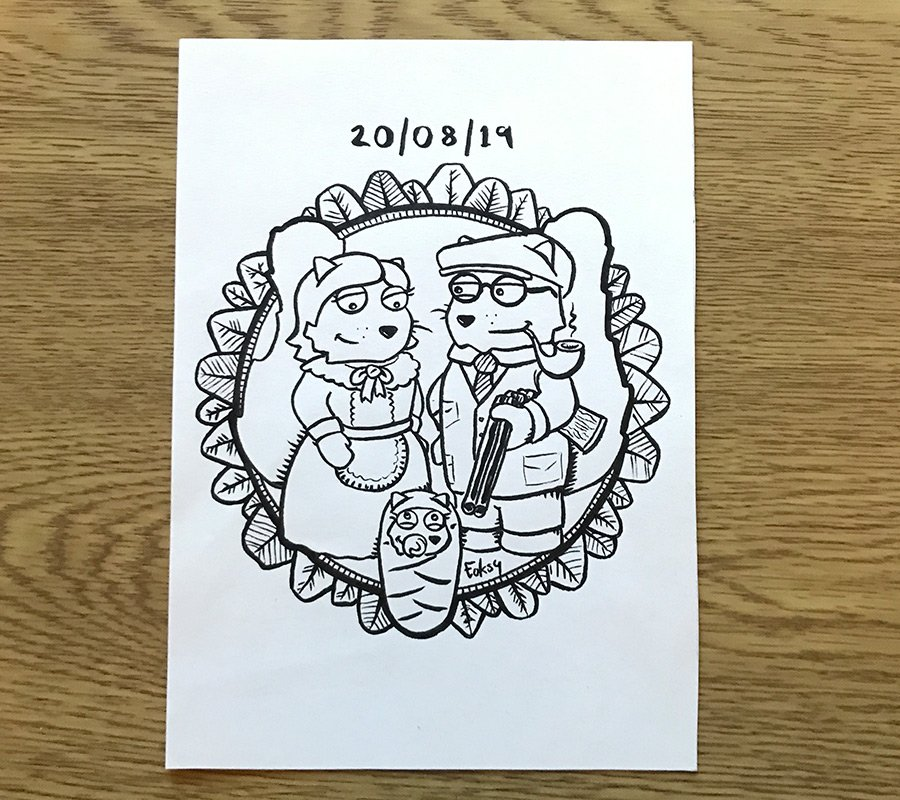 Hand illustrated picture for a couple and they're new born daughter