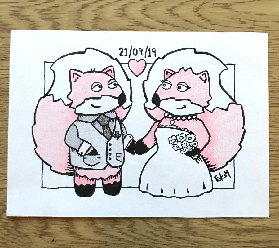 Hand illustrated picture for a newly wed couple with their cat.