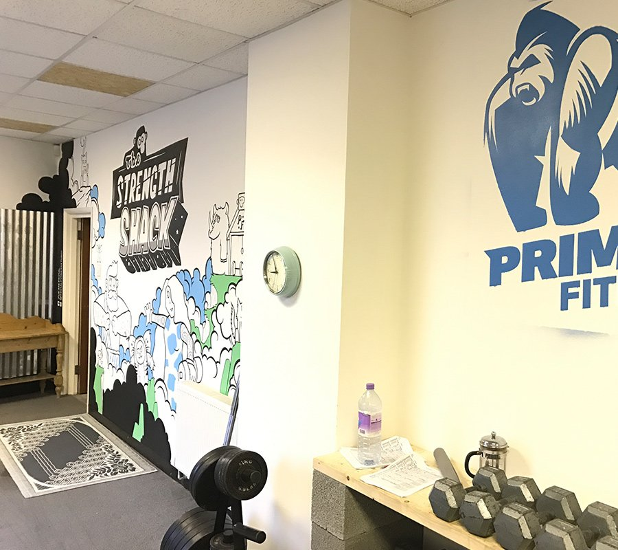 the finished mural at primal fitness in melton mowbray