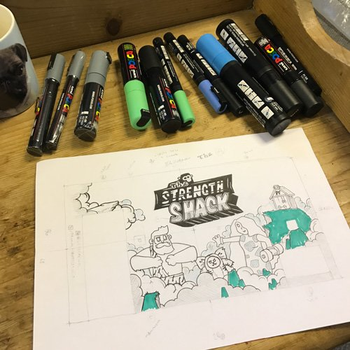 Closeup of the strength shack mural original sketch and posca markers used
