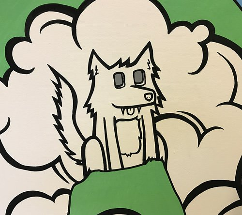 Closeup of the strength shack mural looking at a wolf