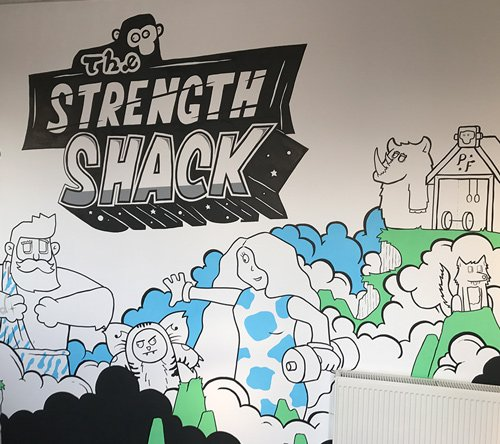 Closeup of the strength shack mural looking at all the characters and the title