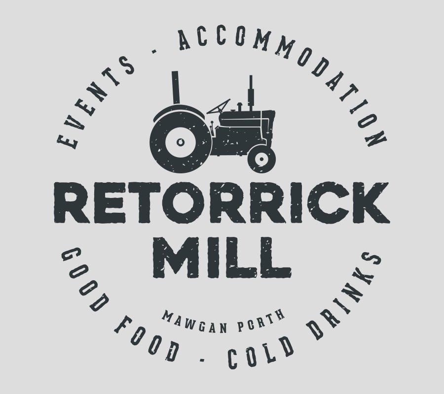 Vector illustrated tractor in the Retorrick Mill Logo
