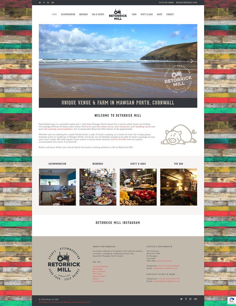 Layout design of the Retorrick Mill website