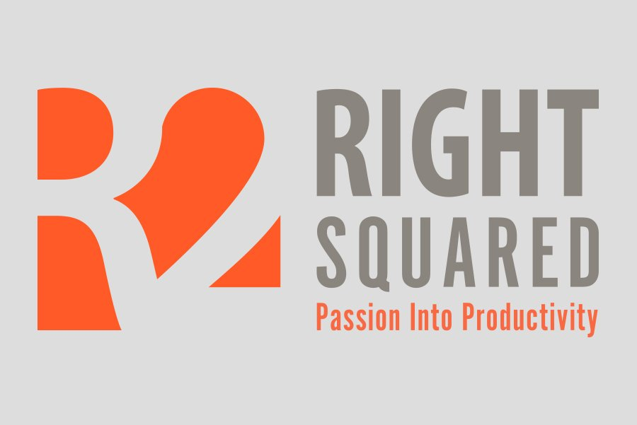 simple logo with the text 'right squared'