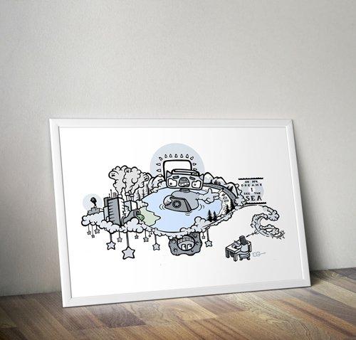 framed poster of sea dream art work