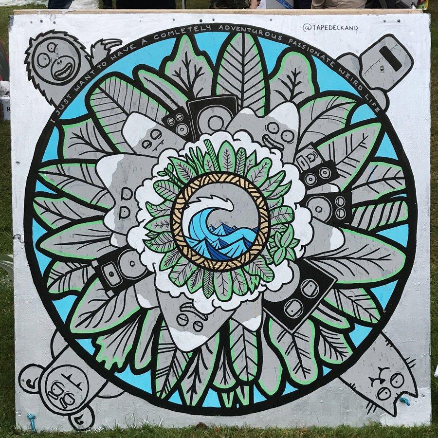 Finish mandala style art work on the last day of upfest 2017